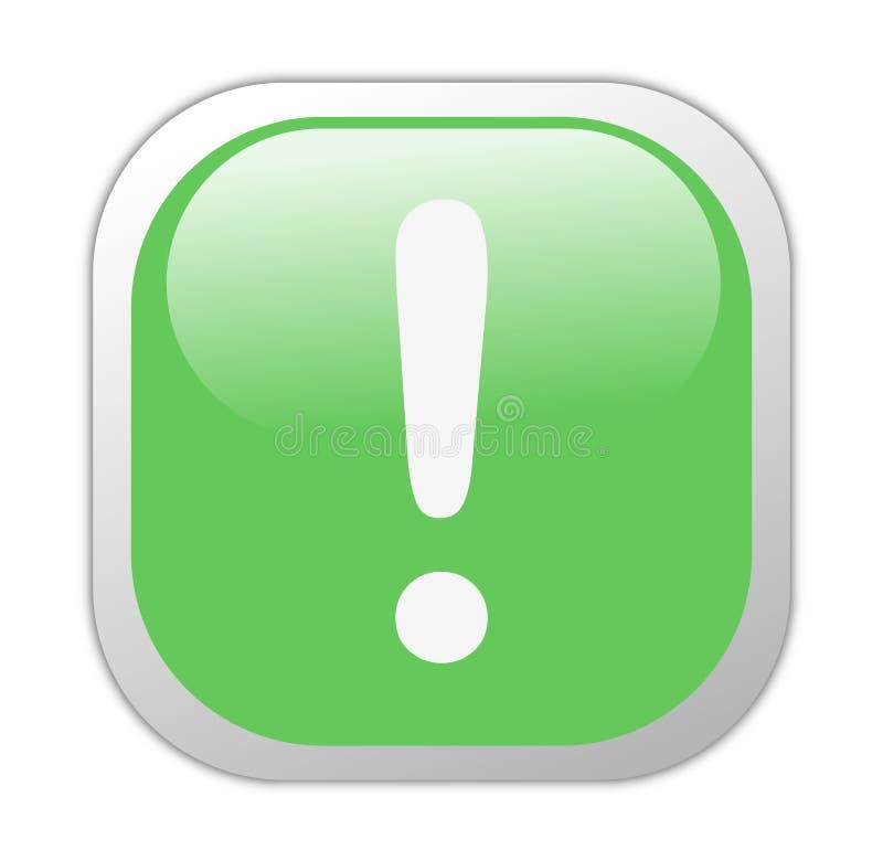 Icona quadrata verde vetrosa di esclamazione