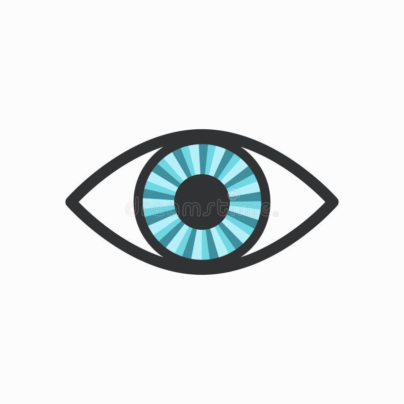 Icona radiante blu dell'occhio con rivestimento scuro illustrazione di stock