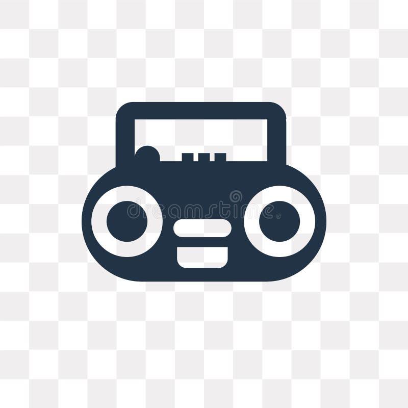 Icona radiofonica di vettore isolata su fondo trasparente, tra radiofonico illustrazione vettoriale