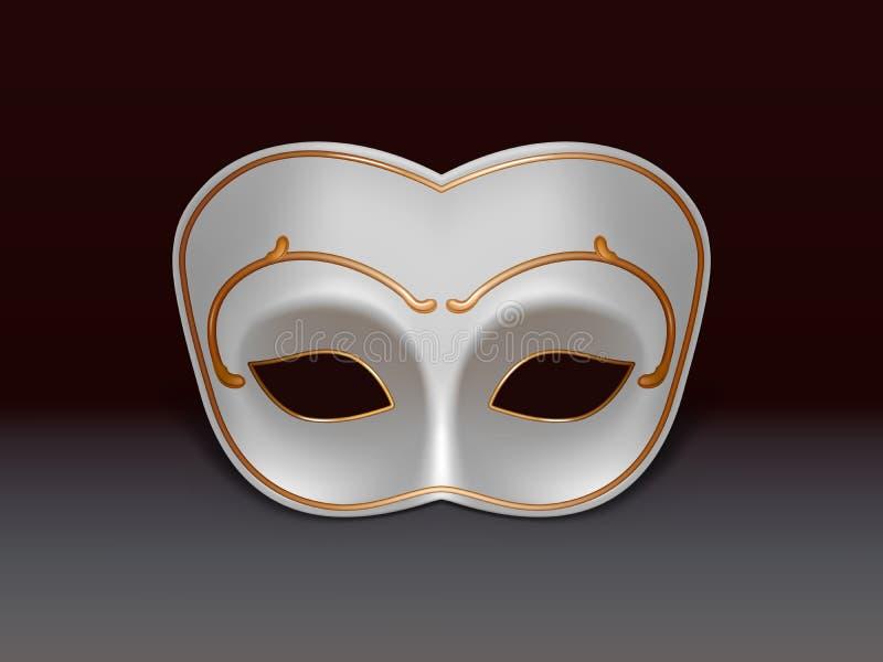 Icona realistica bianca di vettore della maschera 3d di colombina illustrazione vettoriale