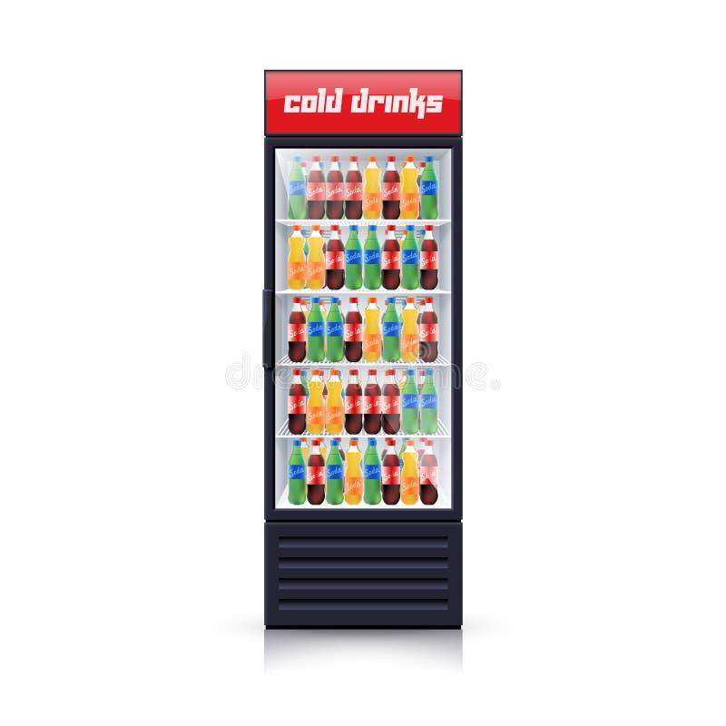 Icona realistica dell'illustrazione dell'erogatore del frigorifero della cola illustrazione vettoriale