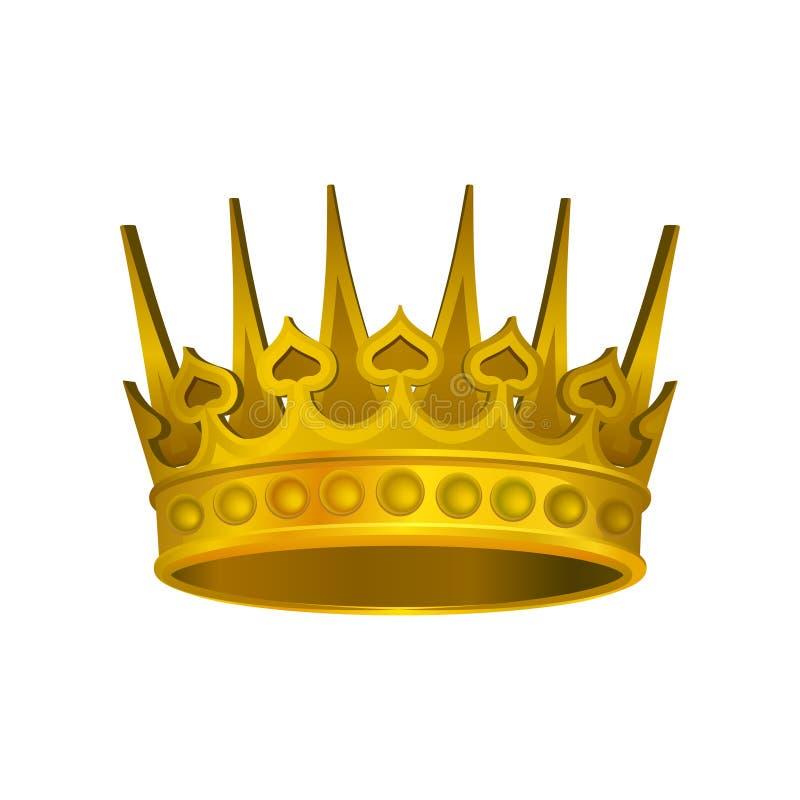 Icona realistica della corona dorata brillante Copricapo della persona reale Elemento di vettore per l'etichetta o il logo di lus royalty illustrazione gratis