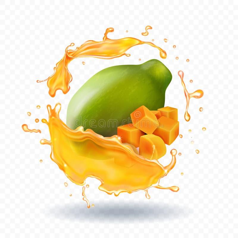 Icona realistica della frutta della spruzzata del succo di papaia illustrazione vettoriale