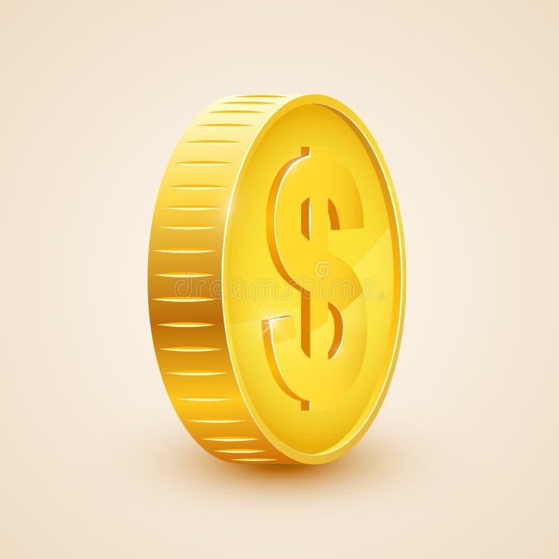 icona realistica della moneta di oro 3d Dollaro americano Concetto dei soldi illustrazione di stock