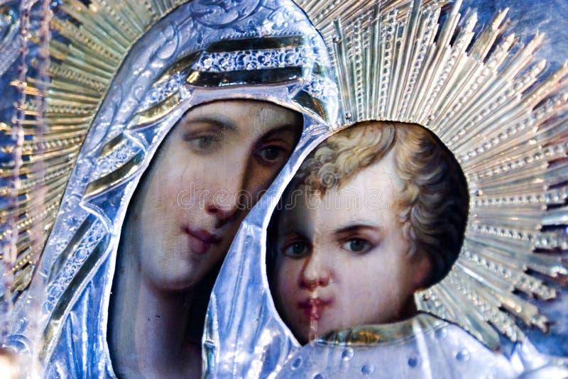 Icona religiosa del Jesus e della Mary immagine stock libera da diritti