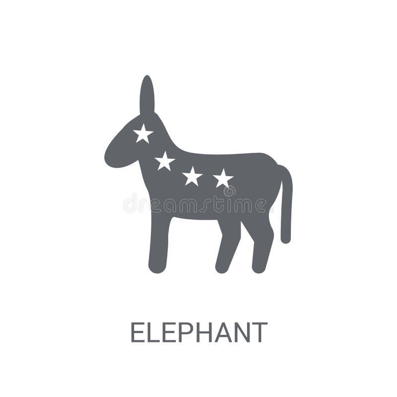 Icona repubblicana di simbolo dell'elefante Symb repubblicano dell'elefante d'avanguardia illustrazione di stock