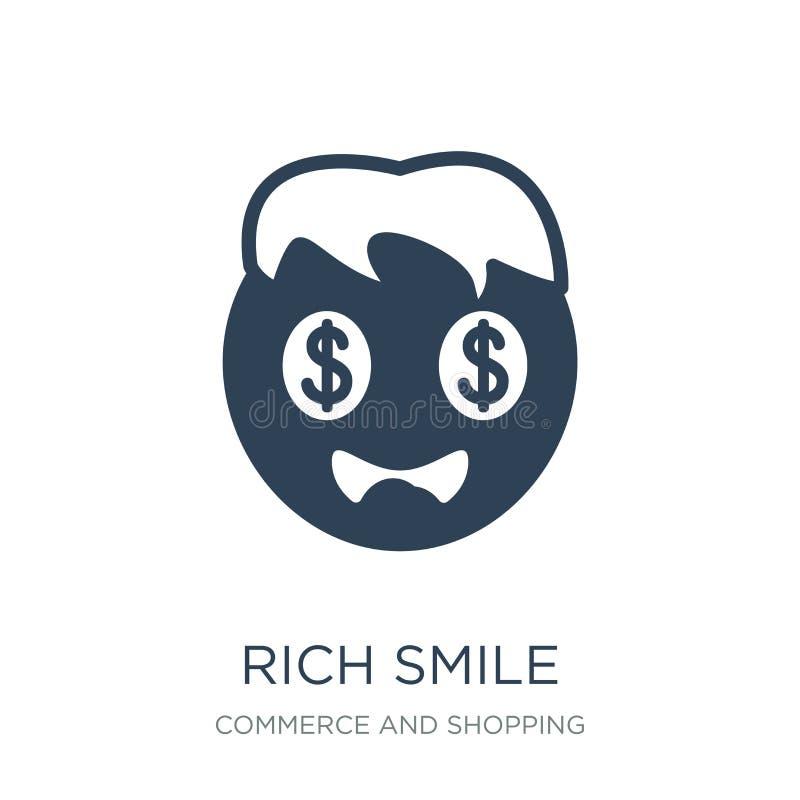 icona ricca di sorriso nello stile d'avanguardia di progettazione icona ricca di sorriso isolata su fondo bianco icona ricca di v illustrazione vettoriale