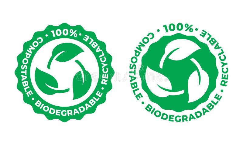 Icona riciclabile biodegradabile e concimabile di vettore bio- foglia riciclabile di verde del pacchetto di 100 per cento illustrazione vettoriale