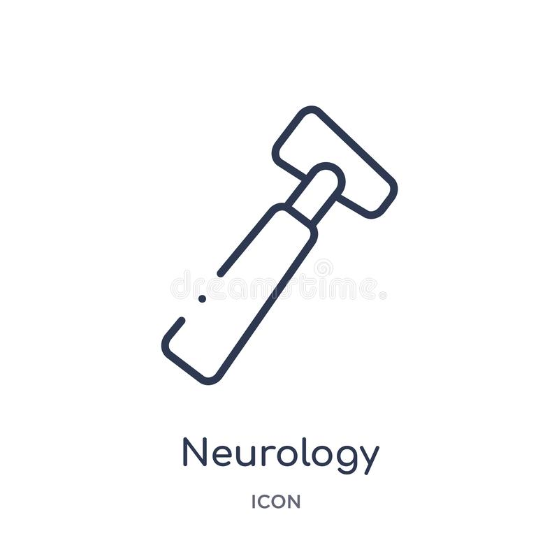 Icona riflessa del martello di neurologia lineare dalla raccolta medica del profilo Linea sottile icona riflessa del martello di  illustrazione di stock