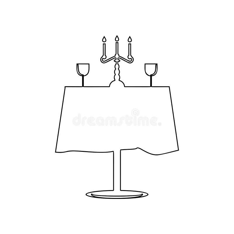 icona rimantic della tavola del ristorante Elemento di amore per il concetto e l'icona mobili dei apps di web Profilo, linea sott royalty illustrazione gratis