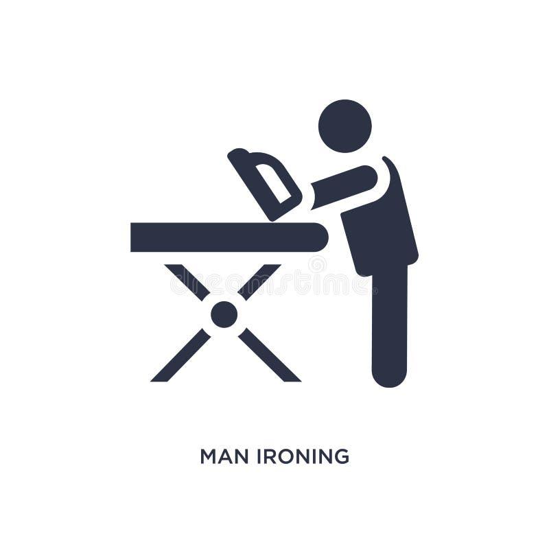 icona rivestente di ferro dell'uomo su fondo bianco Illustrazione semplice dell'elemento dal concetto di comportamento illustrazione di stock