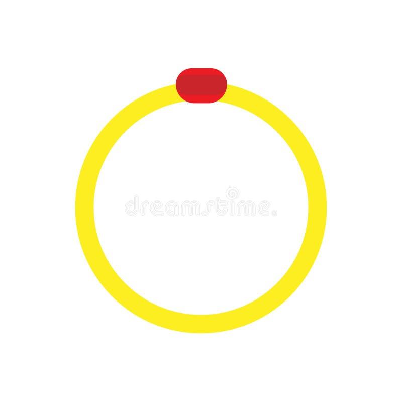 Icona romanzesca di vettore del segno di celebrazione di modo dell'anello Metallo piano di impegno dell'oro di nozze Forma rossa  illustrazione vettoriale