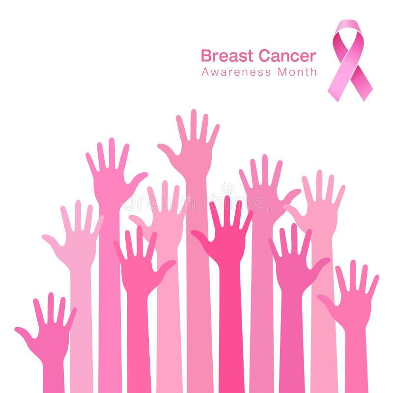 Icona rosa del nastro, consapevolezza del cancro al seno, mani della gente royalty illustrazione gratis