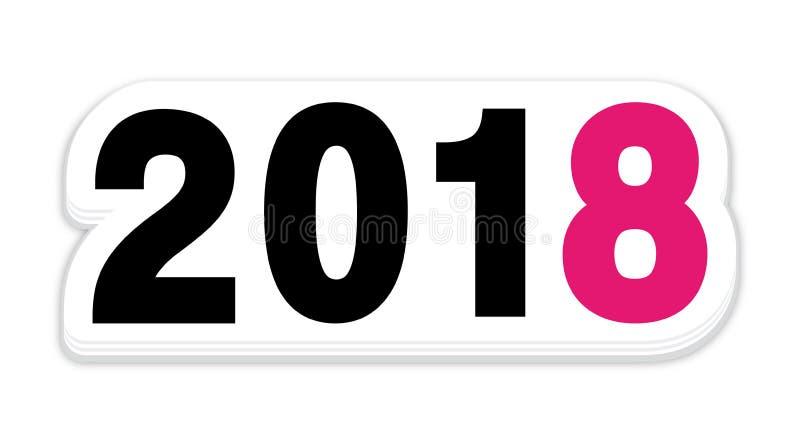 Icona rosa dell'autoadesivo del nuovo anno 2018 royalty illustrazione gratis