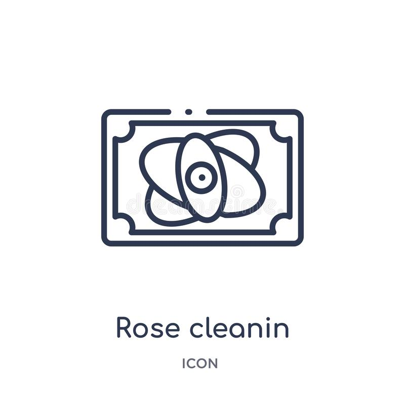 Icona rosa lineare del cleanin dalla raccolta di pulizia del profilo La linea sottile è aumentato vettore del cleanin isolata su  illustrazione di stock