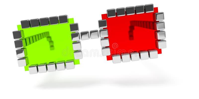 icona rossa astratta di vetro verdi illustrazione di stock