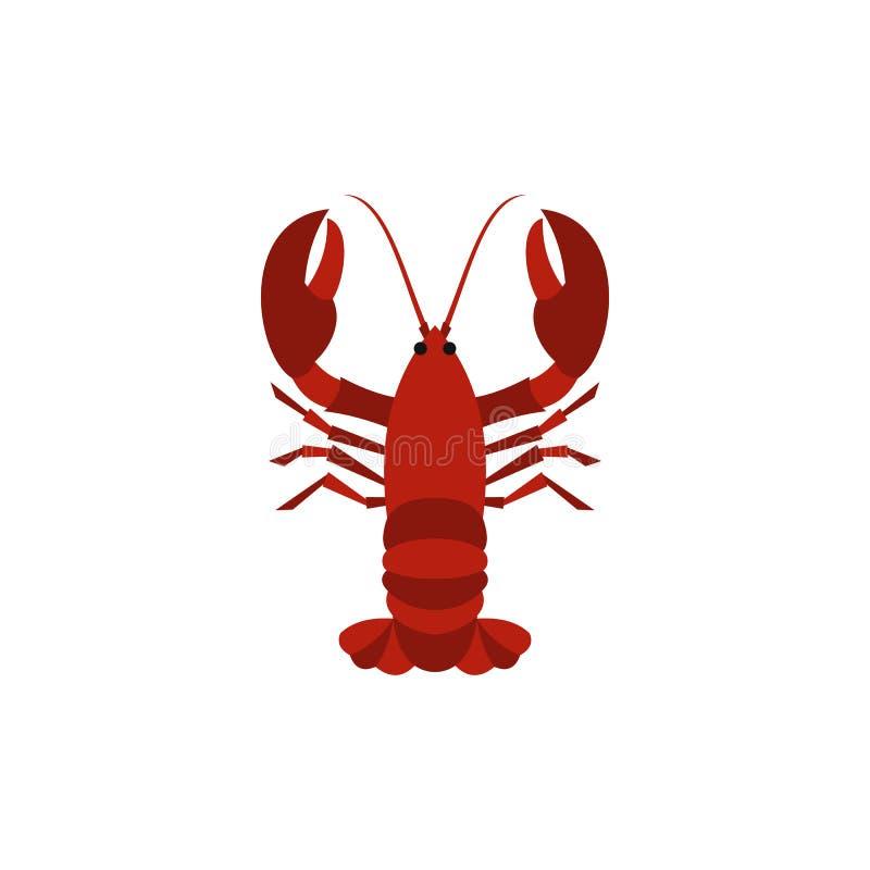 Icona rossa bollita del gambero, stile piano royalty illustrazione gratis