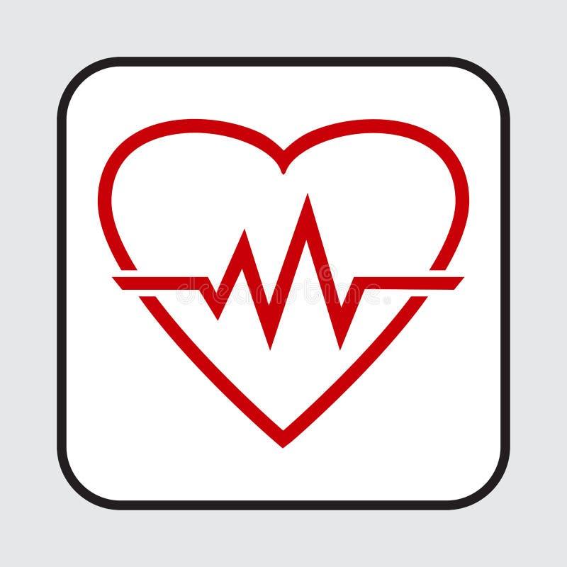Icona rossa del cuore con il battito cardiaco del segno Illustrazione di vettore royalty illustrazione gratis