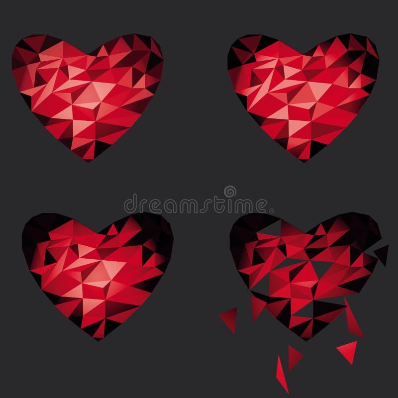 Icona rossa del cuore rotto del poligono per il giorno del ` s del biglietto di S. Valentino royalty illustrazione gratis