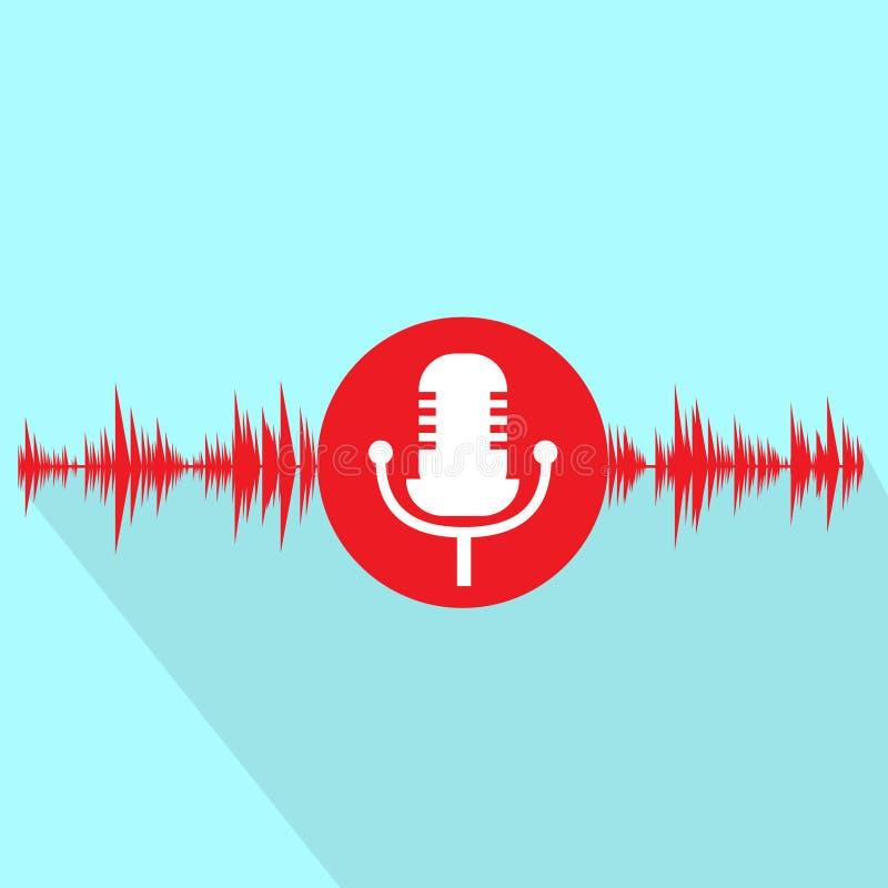 Icona rossa del microfono con progettazione piana dell'onda sonora illustrazione di stock