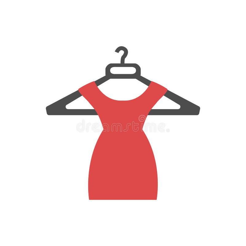 Icona rossa del vestito illustrazione di stock