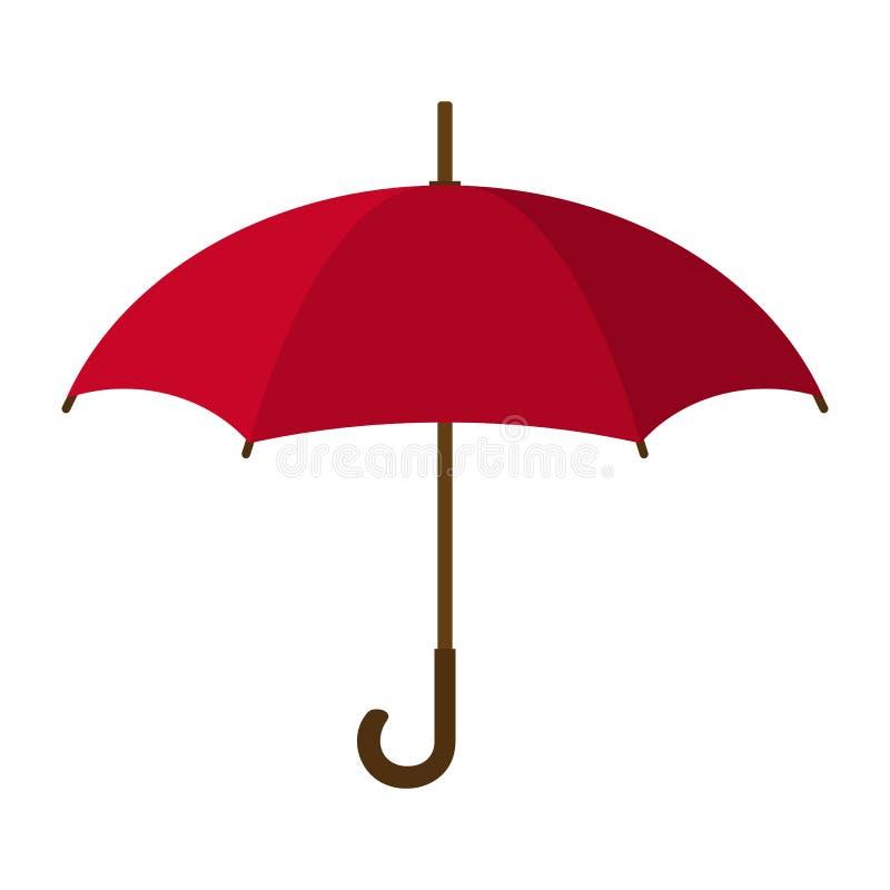 Icona rossa dell'ombrello Ombrello rosso isolato su priorità bassa bianca Stile piano Illustrazione di vettore per la vostra acqu illustrazione di stock