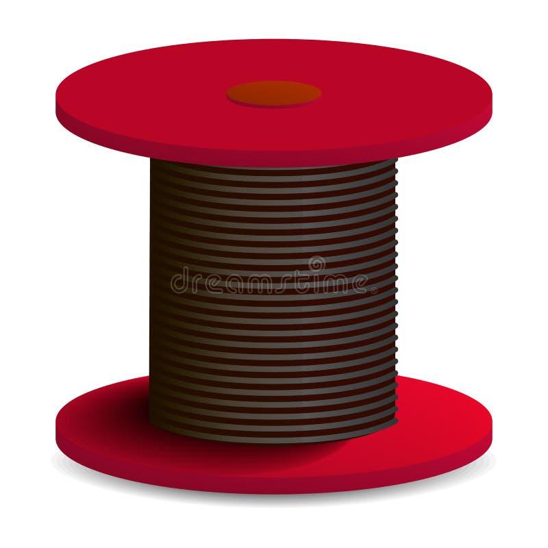 Icona rossa della bobina di cavo, stile realistico royalty illustrazione gratis