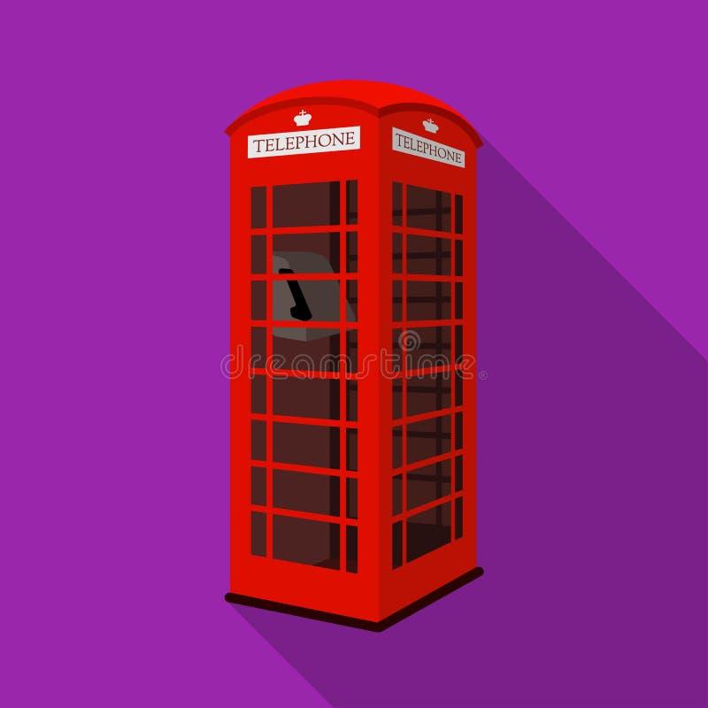 Icona rossa della cabina del telefono nello stile piano isolata su fondo bianco Illustrazione di vettore delle azione di simbolo  royalty illustrazione gratis