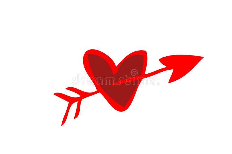 Icona rossa della freccia di amore su fondo bianco fotografia stock libera da diritti