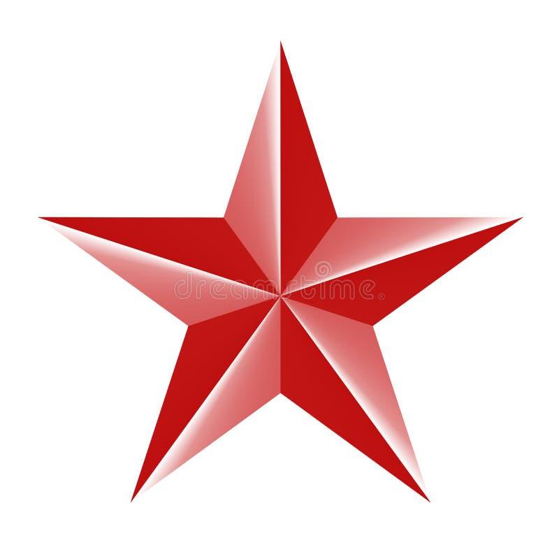 Icona rossa della stella 3d isolata su bianco Illustrazione di vettore per progettazione dell'URSS royalty illustrazione gratis