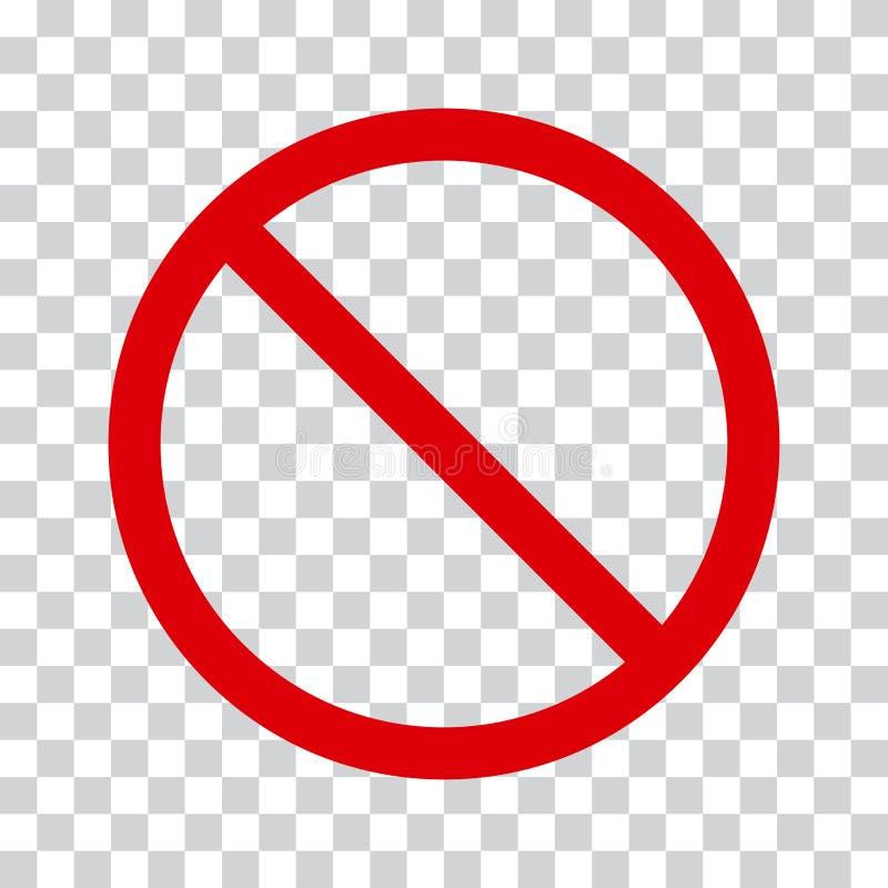 Icona rossa di arresto su fondo trasparente Nessun simbolo Vettore royalty illustrazione gratis