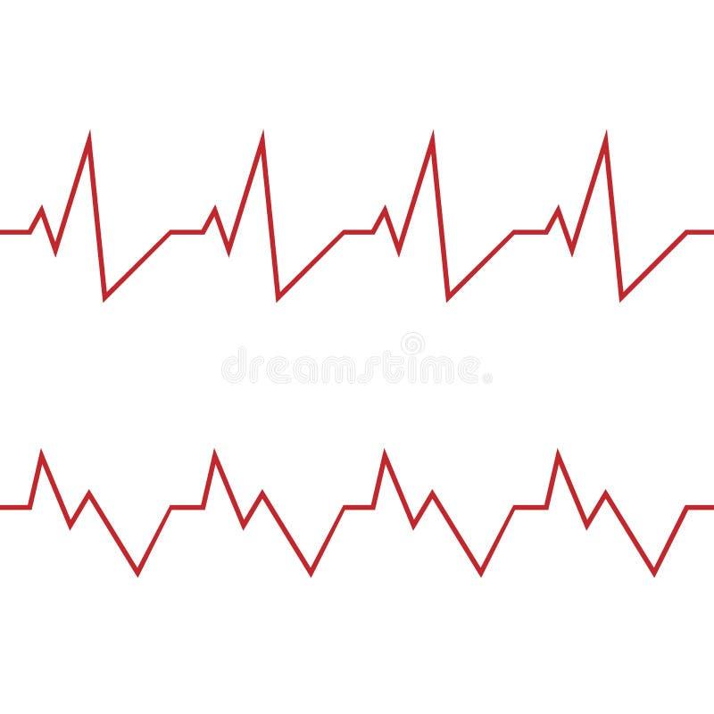 Icona rossa di battito cardiaco Illustrazione di vettore Il battito cardiaco firma dentro la progettazione piana royalty illustrazione gratis