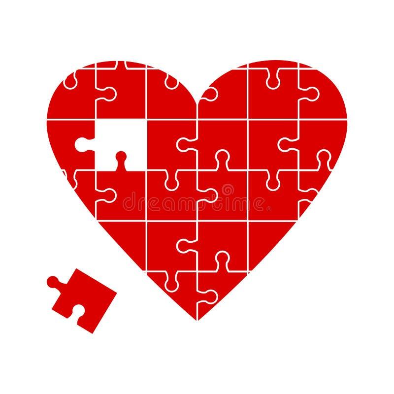 Icona rossa di puzzle del cuore Illustrazione di vettore illustrazione vettoriale