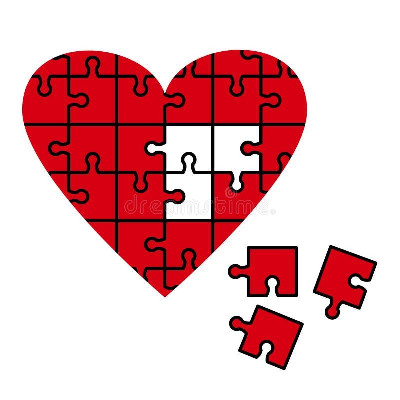 Icona rossa di puzzle del cuore Illustrazione di vettore royalty illustrazione gratis