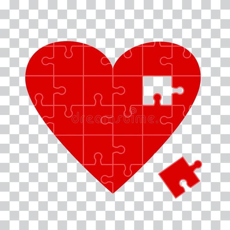 Icona rossa di puzzle del cuore su fondo trasparente Vettore illustrazione vettoriale