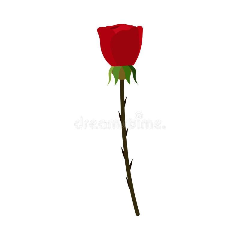 Icona rossa di vettore della pianta del fiore della natura di Rosa Giorno romanzesco di amore del primo piano del fiore Illustraz illustrazione di stock