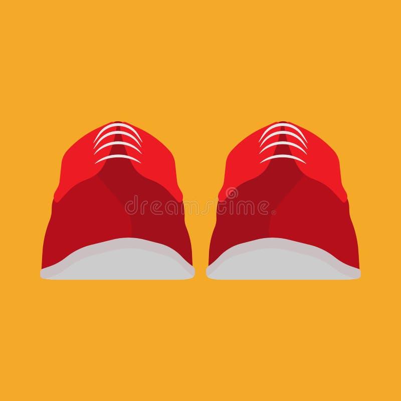 Icona rossa di vettore di vista frontale della scarpa della scarpa da tennis Funzionamento atletico dell'abbigliamento delle calz royalty illustrazione gratis
