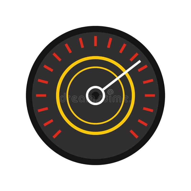 Icona rossa nera del tachimetro, stile piano illustrazione di stock