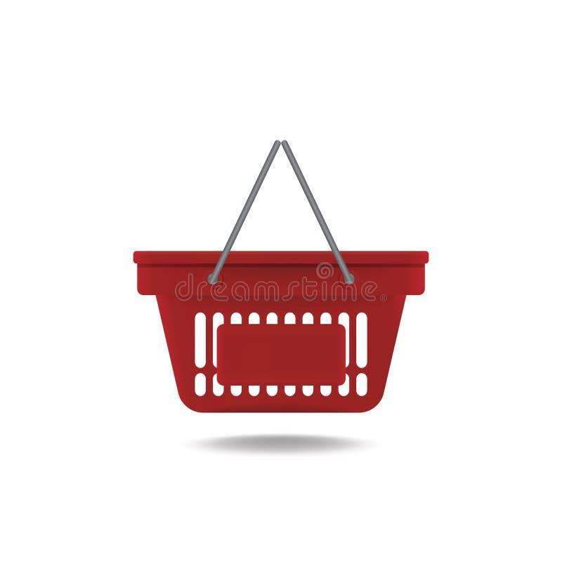 Icona rossa vuota del cestino della spesa della drogheria illustrazione vettoriale