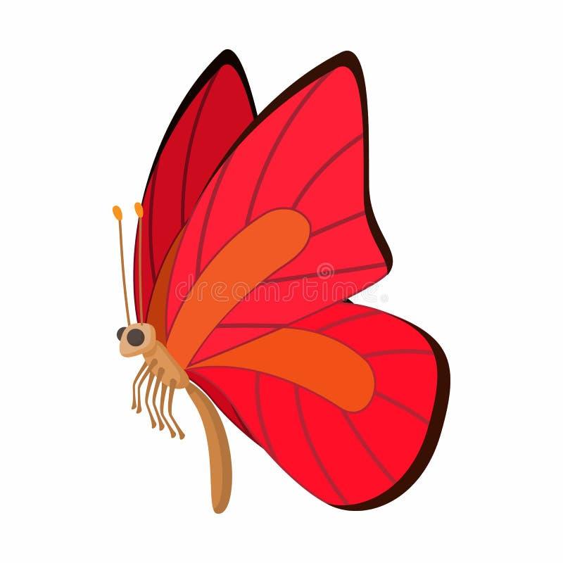 icona Rosso-arancio della farfalla, stile del fumetto illustrazione di stock