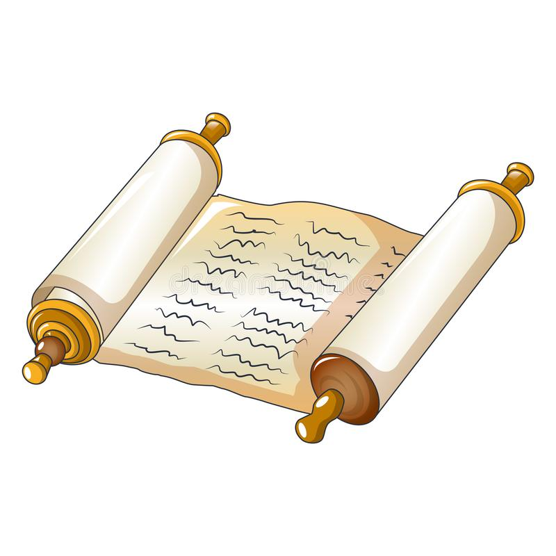 Icona rotolata del papiro, stile del fumetto illustrazione di stock