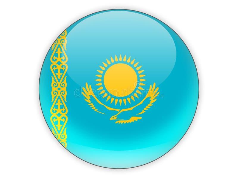 Icona rotonda con la bandiera del Kazakistan royalty illustrazione gratis