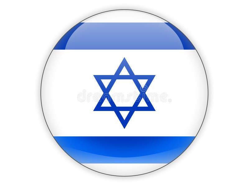 Icona rotonda con la bandiera dell'Israele illustrazione vettoriale