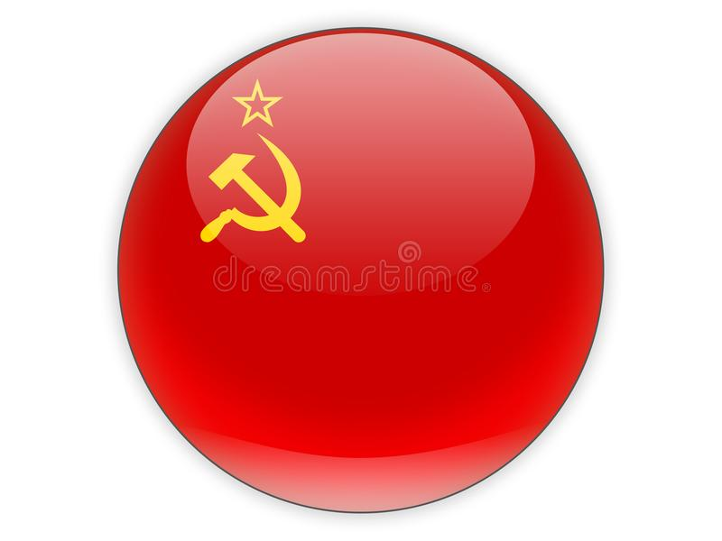 Icona rotonda con la bandiera dell'URSS royalty illustrazione gratis