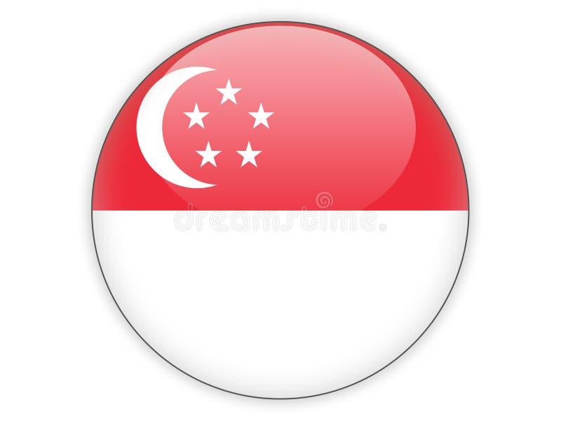Icona rotonda con la bandiera di Singapore illustrazione vettoriale