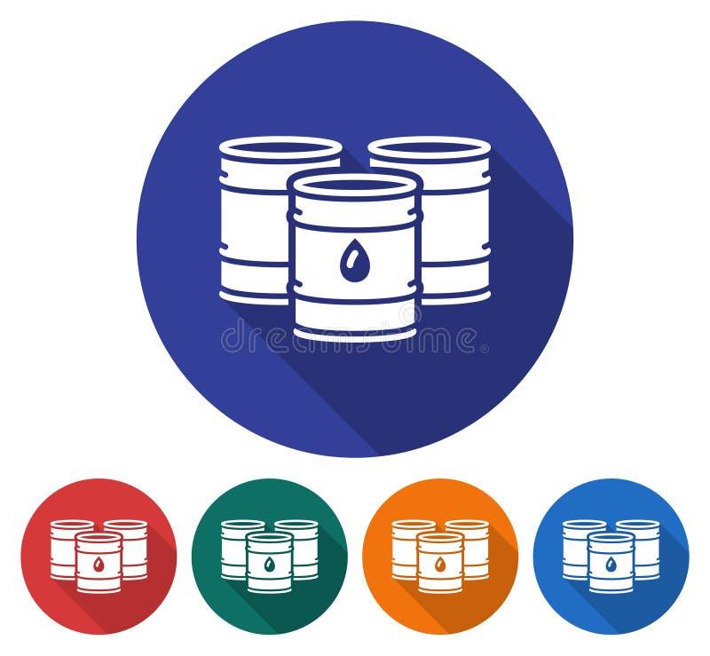 Icona rotonda dei barili da olio illustrazione vettoriale