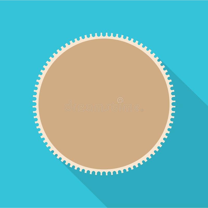 Icona rotonda del francobollo, stile piano royalty illustrazione gratis