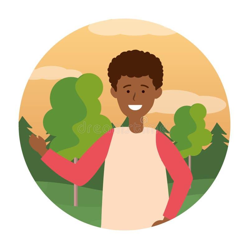 Icona rotonda del ritratto del ragazzo del bambino illustrazione di stock