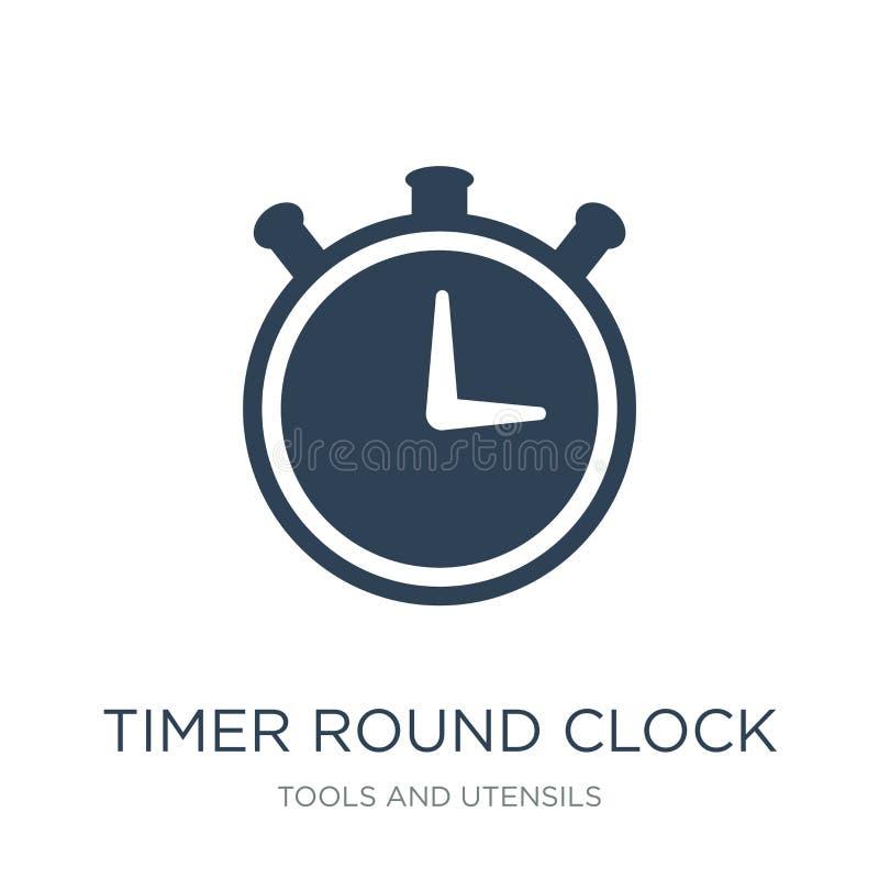 icona rotonda dell'orologio del temporizzatore nello stile d'avanguardia di progettazione icona rotonda dell'orologio del tempori royalty illustrazione gratis
