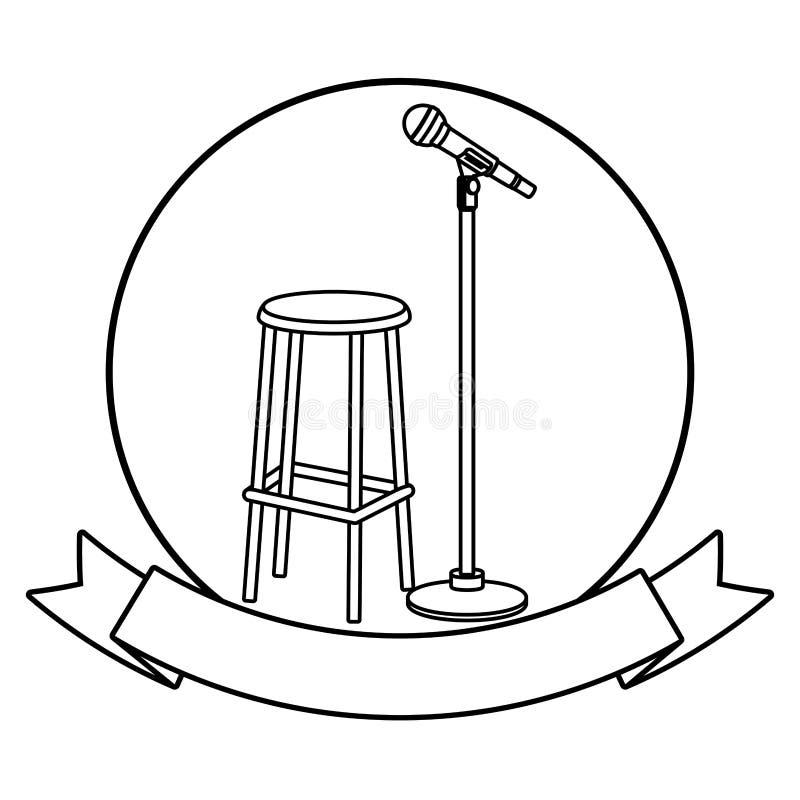 Icona rotonda della sedia e del microfono in bianco e nero illustrazione vettoriale